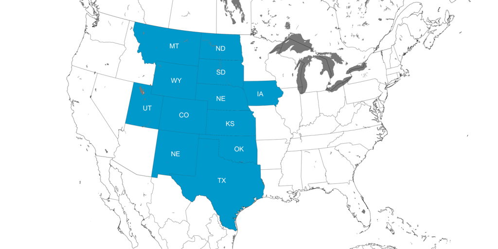 Map showing U.S. states with Cretaceous rock deposits associated with the Western Interior Seaway.