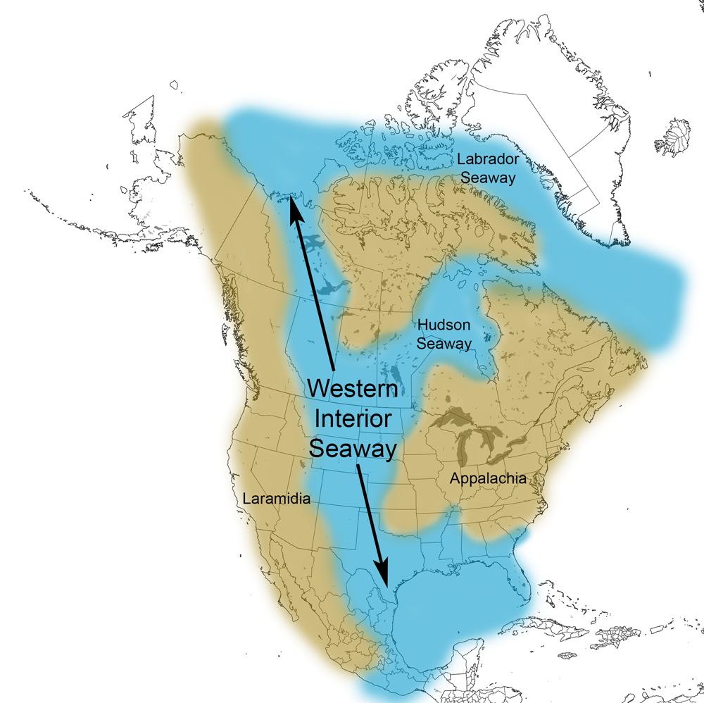 Map showing paleogeographic reconstruction of the Western Interior Seaway during the Cretaceous.